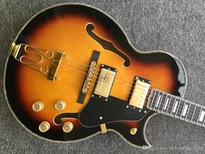 Производитель Пользовательские Новые 2 Picard Star Sun-Formed Hollow Guitar Jazz Gold Headware и Flame Maple Jazz Электрическая гитара, Профессиональный заказ