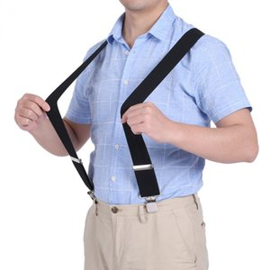 50mm Shirt Suspenders Width Unisex Elastic Pants Braces Men X-Shape Adjustable 4Clips Belt black suspenders Clip-on shirt Braces