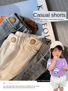 mom girl denim shorts new baby girl casual pants all-match foreign style casual pants and jeans children's jeans