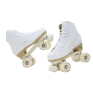 Originale Golden Horse professionale Roller Skates due scarpe Linea doppia fila di pattinaggio a rotelle PU pelle bovina piatto di plastica d'acciaio
