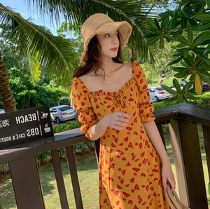 Large-size French Super Fairy Dress Chiffon New Western Style Skinny Covering Belly Broken Flower Platycodon Blossom Fat mm Dress
