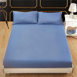 Sábana ajustable cama cubierta equipada Cubierta de protección del colchón color sólido cepillado tela de poliéster tejido adecuado estilo occidental VT1405