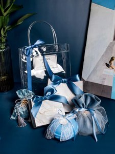New plastic gift bags gift packaging bags with handles PVC clear transparent tote bag shopping jewelery handbags decor