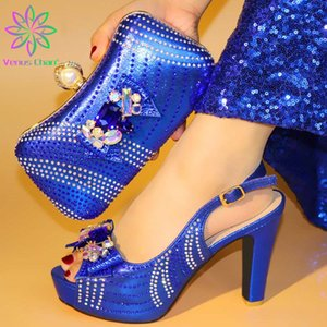 Yapay elmas İtalyan Elbise Ayakkabıları ile r.blue Kadınlar Terlik ve Debriyaj için Karşılaşma Seti Nijeryalı Düğün Ayakkabı ve Çanta Seti dekore