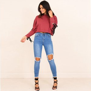 2020 New Spring and Autumn Pullover sweatshirt Female Trend Round neck Lace up Solid color Short Street style All-match High-end