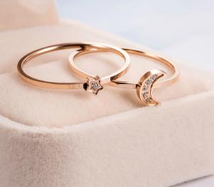 Couple Simple Fashion Ring Titanium Steel Rose Steel Star Moon Diamond Inlay European and American Fashion Trend Daily