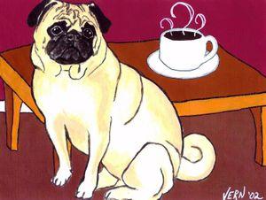 FAWN МОПС с КОФЕ собак Animal Art Картина VERN Home Decor расписанную HD печати живопись маслом на холсте Wall Art Холст 200716