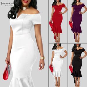 Casual Dresses 2020 Women Evening Party Club Wear Short Sleeve Off Shoulder Ruffle Asymmetric Midi Dress