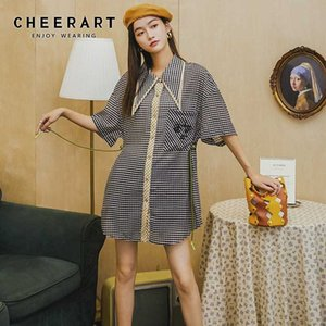 CHEERART Plaid Button Up Summer Shirt Dress Women Short Sleeve Straight Loose Mini Dress 2020 With Embroidered Pocket