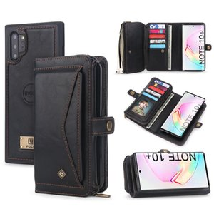 For Samsung Note 10 Plus Wallet Case Luxury Zipper Detachable Magnetic Leather Cover Case for Samsung Galaxy Note 10 S10 S9 Plus