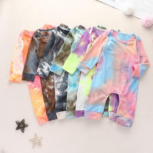 Meninos meninas nascidas Macacões tingido Vestuário manga comprida Outono Romper 2020 New Moda roupas de grife