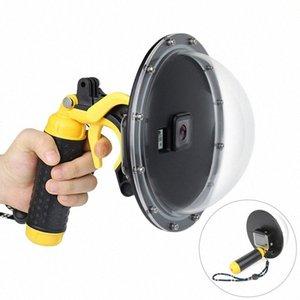 6-Zoll-wasserdichte Haube Hafen Goggles Abdeckung Griff Dive Kamera-wasserdichte Maske Fisheye Sphärische Tauchmaske mit Griff Auslöser für qGvo #