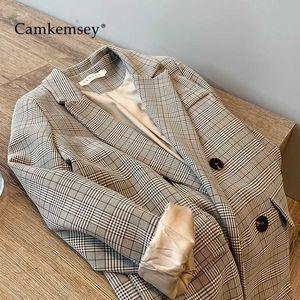 CamKemsey Büro-Damen Arbeitskleidung Blazer Jacken 2020 Herbst Langarm Reverskragen Retro Plaid Leisure Suit Mäntel Damen