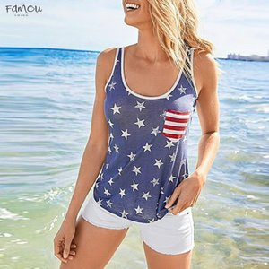 Bow Hollow Out Casual Tank Women Loose Tank Top O Neck American Flag Print T Shirt Sleeveless O Neck Tops Vest 2020