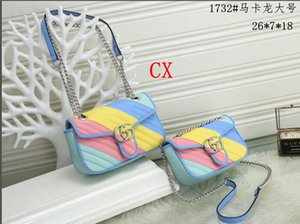 High quality women's fashion Marmont luxury pu multicolor striped chain crossbody bag handbag shoulder bag