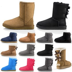 Nuevas botas de nieve para mujer, bota de invierno de moda, mini tobillo corto clásico para mujer, botines para mujer, triple castaño negro, azul marino