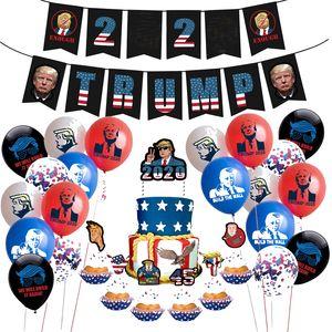 NEW Donald Trump 2020 Flag Latex Konfetti Luftballons Set Trompete Geburtstag Pull-Flagge String + Kuchen-Karte Präsident Abstimmung Access AHF269