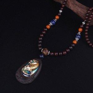 Черного палисандр ювелирных изделий женщина дерева ювелирного изделия ожерелье года сбор виноград, Маленький карп прыгает портальный перламутровый блеск Будда этнического ожерелье 8jbw #