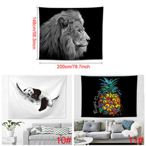 인 인기 홈 인테리어 폴리 에스테르 200 * 148cm 태피스트리 거실 침실 장식 벽화 인쇄 동물 파인애플 태피스트리 DH0939-1 T03