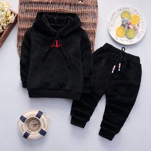 0-3 Years Autumn Winter Velvet Baby Girls Boys Suit Long Sleeve Hoodie + Pants 2pcs Sets Infant New Year Warm Tracksuit Clothes