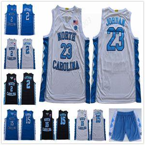 NCAA 23 Michael manica corta Pallacanestro Camicie Uomo cucita North Carolina College di luce bianca blu pallacanestro Jersey S-XXL