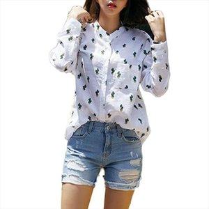 Cap Sleeve Kızlar Kadınlar Casual Uzun Kollu T Shirt Tatlı Sevimli Cactus Baskılı Mandarin Yaka Beyaz Drop Shipping Tops