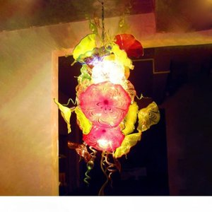 Stained Glass Chandelier Lighting Fancy Hanging Traditional Hand Blown Glass Chandelier Italy Flower Design Crystal Chandelier Free Shipping