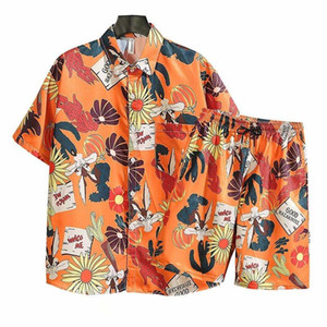 Mens Nuovo manica corta Tracksuits Summer Camicetta Hawaii Beach Shorts Camicie stampate 2 pezzi Set M-3XL