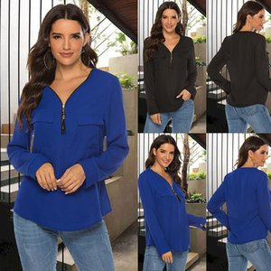 Women Zipper Long Sleeve Shirts Womens Tops And Blouses Sexy V Neck Tee Shirts Casual Tops Female Tunic Plus Size