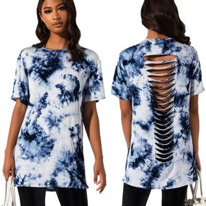 Fashionable Women's Tie-Dye Printed T-Shirts 2020 Summer New Casual Loose Hollow Out O-Neck Short Sleeves T-Shirts Streetwear