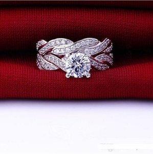 Поп High USpecial Мода Любовь Имитация Алмазный CZ Engagement Wedding Bnd палец кольцо для женщин Наборы стерлингового серебра 925 Bridal ювелирные изделия