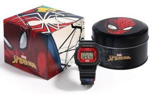 마블 남자 시계 한정판 스퀘어 다이얼 LED 디스플레이 백라이트 스파이더 맨 G 스타일 쇼크 시계 스포츠 패션 블랙 시계 좋은 선물