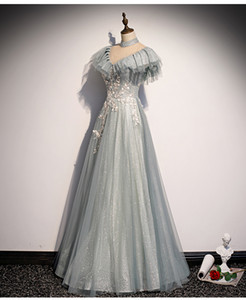100% real vintage silver blue rhinestone ball gown medieval dress renaissance Gown queen Victorian  Marie  Belle Ball stage ball gown