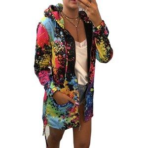 Long Sleeve Colorful Zipper Hooded Hoodies Women 3D Splash Ink Graffiti Print Hoodie Art Sweatshirt Ladies Harajuku Streatwear Y200107