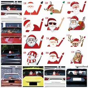18styles Christmas Car Stickers Decor cartoon Santa Claus 3D PVC Waving Styling Window Wiper Decals Rear Windshield Self-Adhesive FFA3279-2