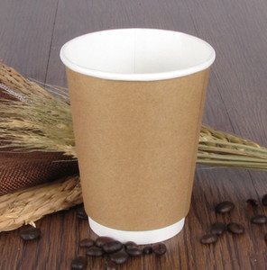 Disposable coffee paper cup hot drink tumbler double-layer cup hollow anti-scalding heat insulation for free shipping A10