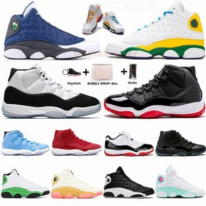 С коробкой Бред Pantone Concord 45 UNC 11s Баскетбол обувь 11 13s площадка Лаки Грин CNY Flint 13 Мужские кроссовки женские Спортивные тренажеры
