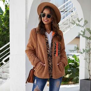 Kadın Kürk Faux Teddy Bear Ceket Kadın Leopar Kabarık Sonbahar Ceket Kış Mont Bayanlar Sıcak Kadın