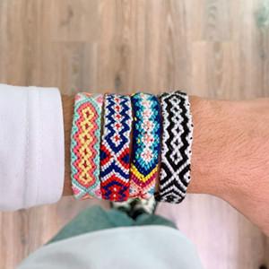 Boho Ethnic Vsco Woven Bracelet for Girl Women Handmade Multicolor String Cord Nepalese Braided Rainbow Bracelet Lucky Friendship Bracelet
