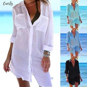 Women Beach Cover Up Button Down Pocket Shirts Sunscreen Bikini Swimsuit Blouse Summer Sexy Applique Hot Slim Ladies Pretty Shirt Cd