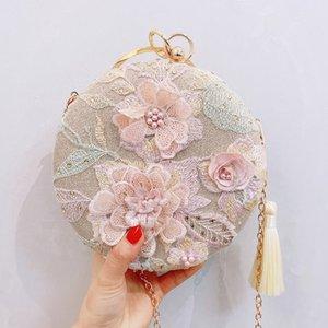 Abera 2020 luxueux sac d'embrayage de soirée rétro pompon broderie main fleur sac dîner rond mariage Jour bourse Sacs à main M1350