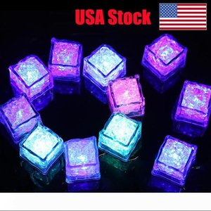 cube flash LED RGB lumières Glaçons lumières LED submersible Détecteur d'eau liquide flash Bar Light Up pour Champagne Tour