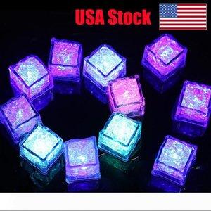 cubo RGB llevó luces de flash cubos de hielo luces de destello líquido del agua del sensor sumergible hasta Barra de luz LED de Champagne Torre