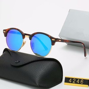 2020 new Classic Brand Design Round Sunglasses Band Eyewear Metal Gold Frame Glasses Men Women Mirror Sunglasses glass Lens with box 4246
