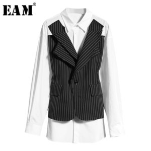 [EAM] Women Black Striped Split Big Size Blouse New Lapel Long Sleeve Loose Fit Shirt Fashion Tide Spring Summer 2020 1W022 Y200622