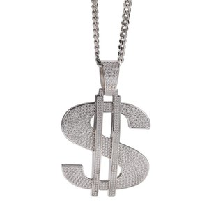 USD Sign Pendant Hiphop Necklace Mens Jewelry 18K Gold Plated Necklaces Iced Out Bling Cubic Zirconia Jewellery