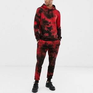 Uomo Autunno Inverno Tie Dyeing Stampa Imposta modo degli uomini vestito di sport Felpa Top Pants Set 2 piece set Tuta Streetwear z0923