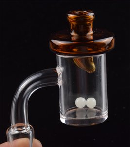 4mm thick Bottom Quartz Banger Nail & Glass UFO Colored Carb Cap Terp Pearl Ball 45 90 degree For oil rigs Glass Bongs