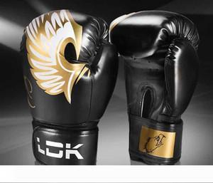 L'alta qualità delle donne degli uomini adulti Boxe guanti di pelle 10oz 6OZ Thai Boxe De Luva guanti mezzi Sanda Apparecchiature Abbigliamento protettivo combattimento Kick Boxing