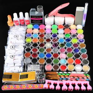 78pcs Acrílico Pó Set Para Manicure Com Acrílico Líquido Glitter Para Nail Art Cristal Set Escova Kit pontas das unhas Tools